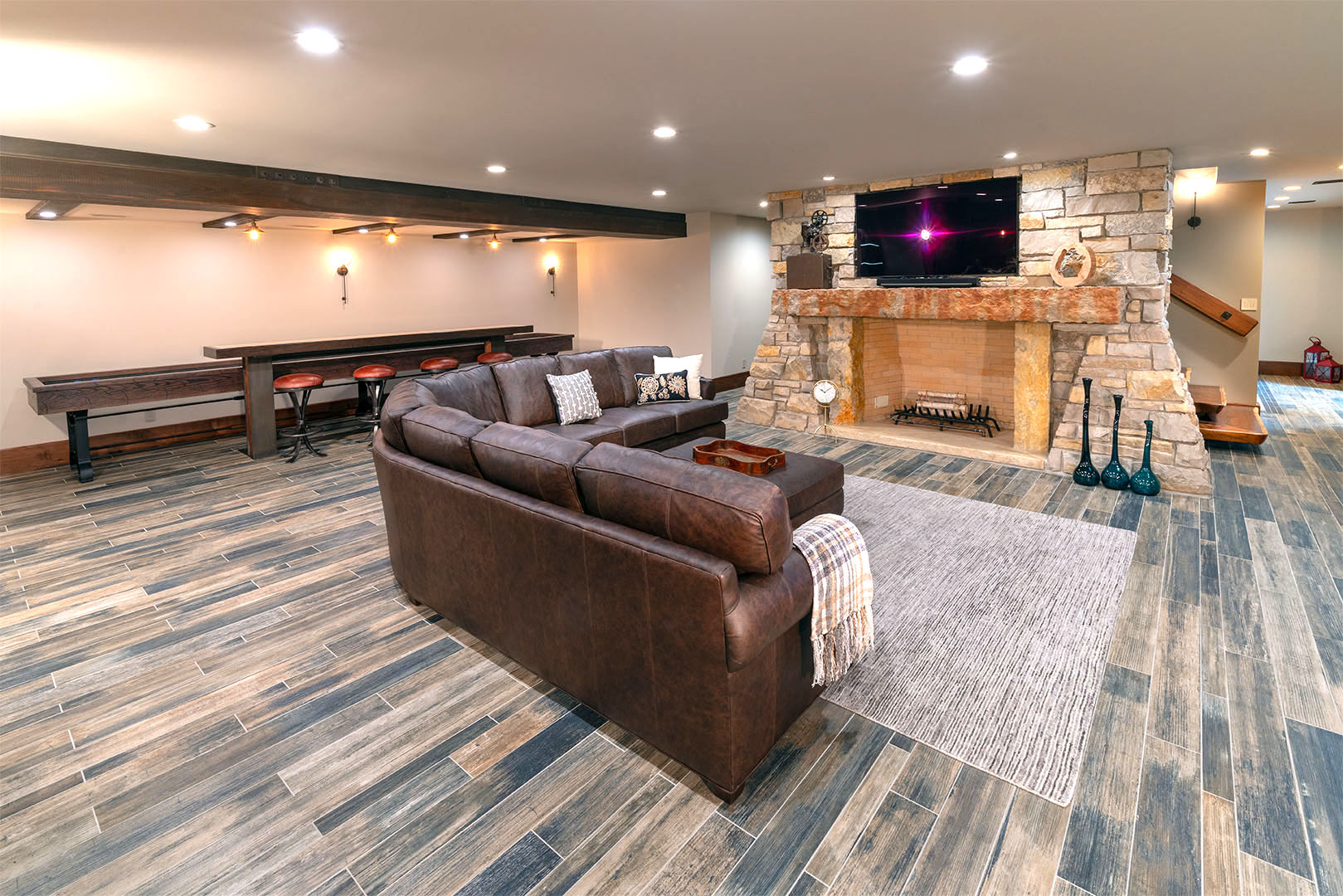 Gameroom and stone fireplace