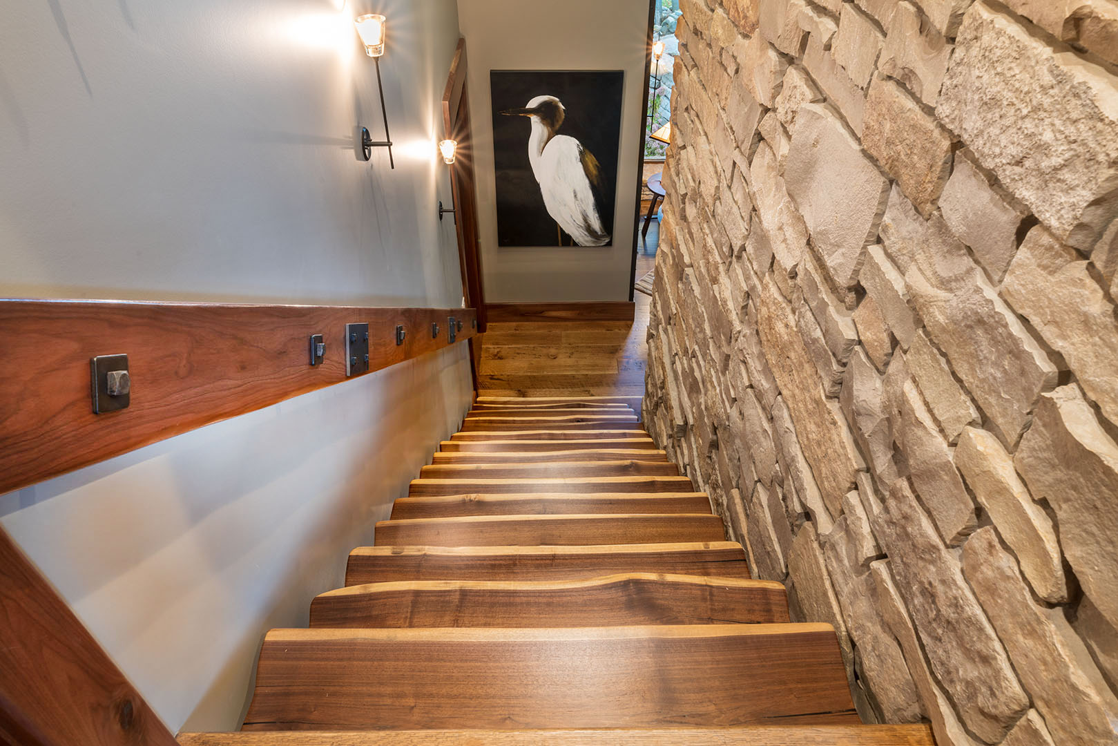 Floating live edge stairway to lower level