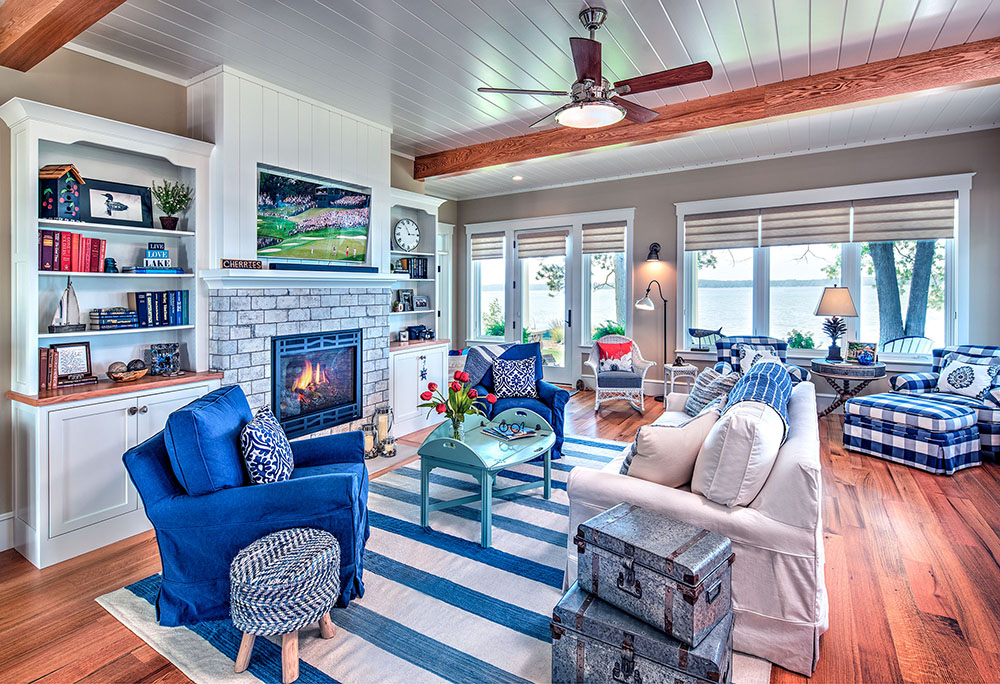 Cottage living room with fireplace on Torch Lake