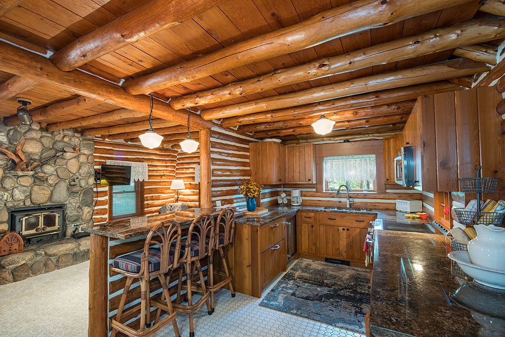 Log cabin kitchen and great room