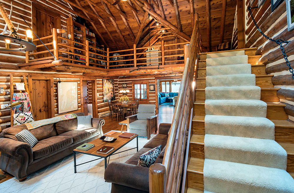 Log home living room and loft