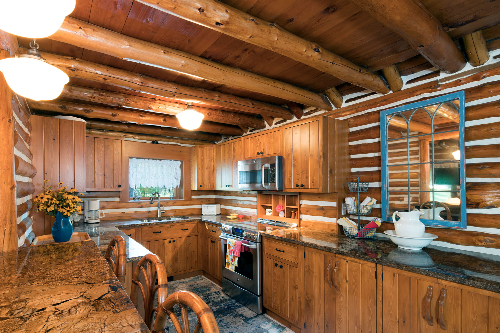 Remodeled Log Cabin Kitchen Renovation On Torch Lake